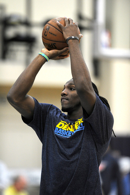 . Kenneth Faried (35) of the Denver Nuggets takes a shot during practice April 22, 2013 at Pepsi Center. The Denver Nuggets prepare for game two of the first round of the NBA playoffs against the Golden State Warriors. (Photo By John Leyba/The Denver Post)