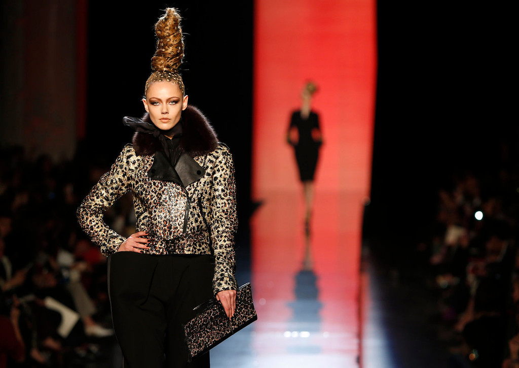 . A model wears a creation for Jean-Paul Gaultier\'s Haute Couture Fall-Winter 2013-2014 collection presented Wednesday, July 3, 2013 in Paris. (AP Photo/Jacques Brinon)