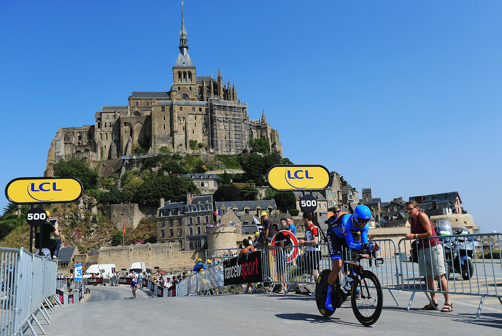 . Jack Bauer of the United States and Garmin-Sharp approaches the finish during stage eleven of the 2013 Tour de France, a 33KM Individual Time Trial from Avranches to Mont-Saint-Michel, on July 10, 2013 in Mont-Saint-Michel, France.  (Photo by Doug Pensinger/Getty Images)