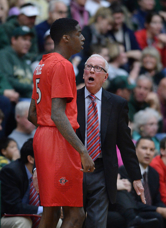 . San Diego State coach Steve Fisher shared his thoughts with junior forward Dwayne Polee II in the second half.  Photo By Karl Gehring/The Denver Post