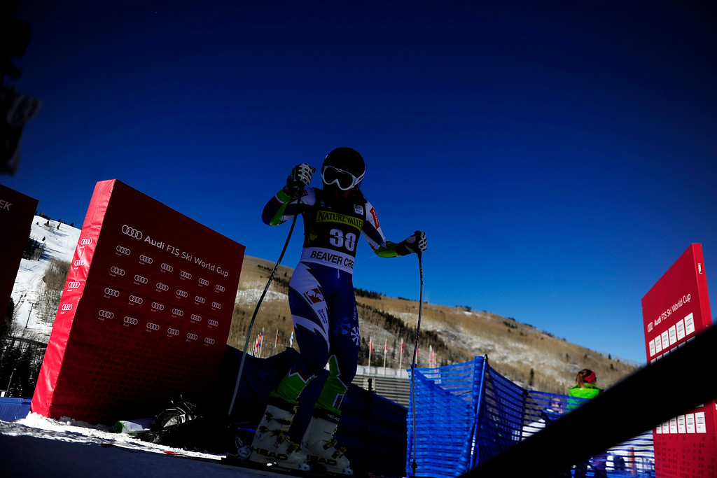 . Slovenia\'s Vanja Brodnik finishes her practice run for the Audi FIS Beaver Creek World Cup near Avon, Colorado. (Photo by AAron Ontiveroz/The Denver Post)