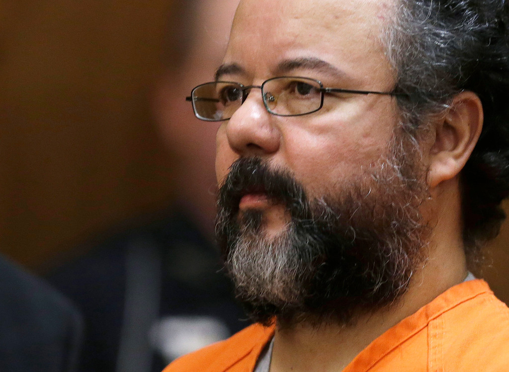 . FILE - This Aug. 1, 2013 file photo shows Ariel Castro in the courtroom during the sentencing phase in Cleveland. Castro, who held 3 women captive for a decade, has committed suicide, Tuesday, Sept. 3, 2013. (AP Photo/Tony Dejak, file)