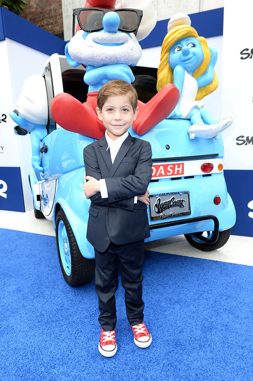 """. Actor Jacob Tremblay attends the Los Angeles premiere of \""""The Smurfs 2\"""" at Regency Village Theatre on July 28, 2013 in Westwood, California.  (Photo by Michael Buckner/Getty Images for SONY)"""