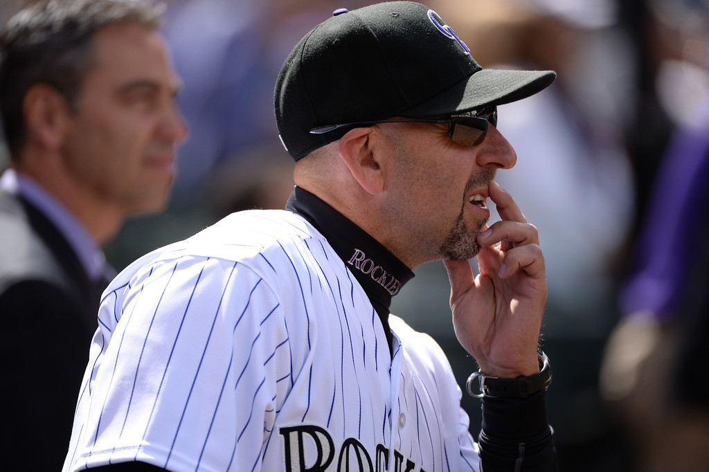 . Colorado Rockies manager Walt Weiss looks out across the field before the game. The Colorado Rockies hosted the Arizona Diamondbacks in the Rockies season home opener at Coors Field in Denver, Colorado Friday, April 4, 2014. (Photo by Hyoung Chang/The Denver Post)