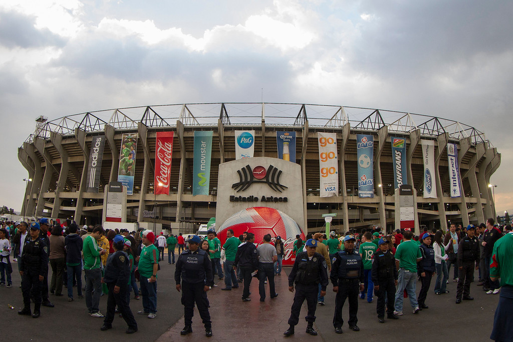 . People attend a match between Mexico and US as part of FIFA 2014 World Cup Qualifier at The Azteca stadium on March 26, 2013 in Mexico City, Mexico. (Photo by Miguel Tovar/Getty Images)