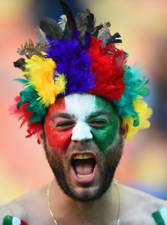 . \\ An Italy fan shows his support prior to the 2014 FIFA World Cup Brazil Group D match between England and Italy at Arena Amazonia on June 14, 2014 in Manaus, Brazil.  (Photo by Christopher Lee/Getty Images)