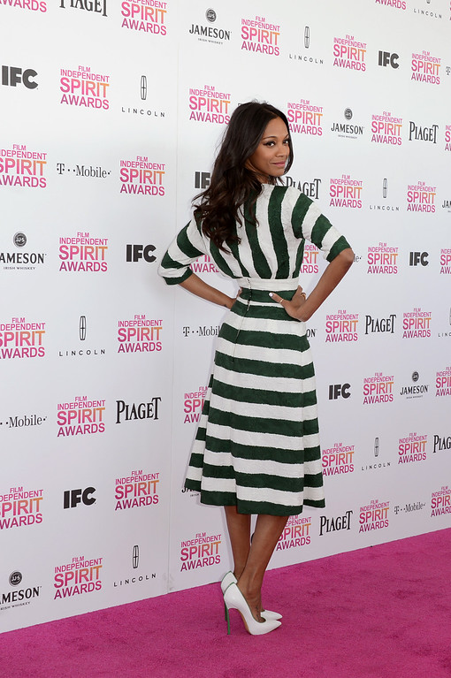 . SANTA MONICA, CA - FEBRUARY 23:  Actress Zoe Saldana (fashion detail) attends the 2013 Film Independent Spirit Awards at Santa Monica Beach on February 23, 2013 in Santa Monica, California.  (Photo by Jason Merritt/Getty Images)