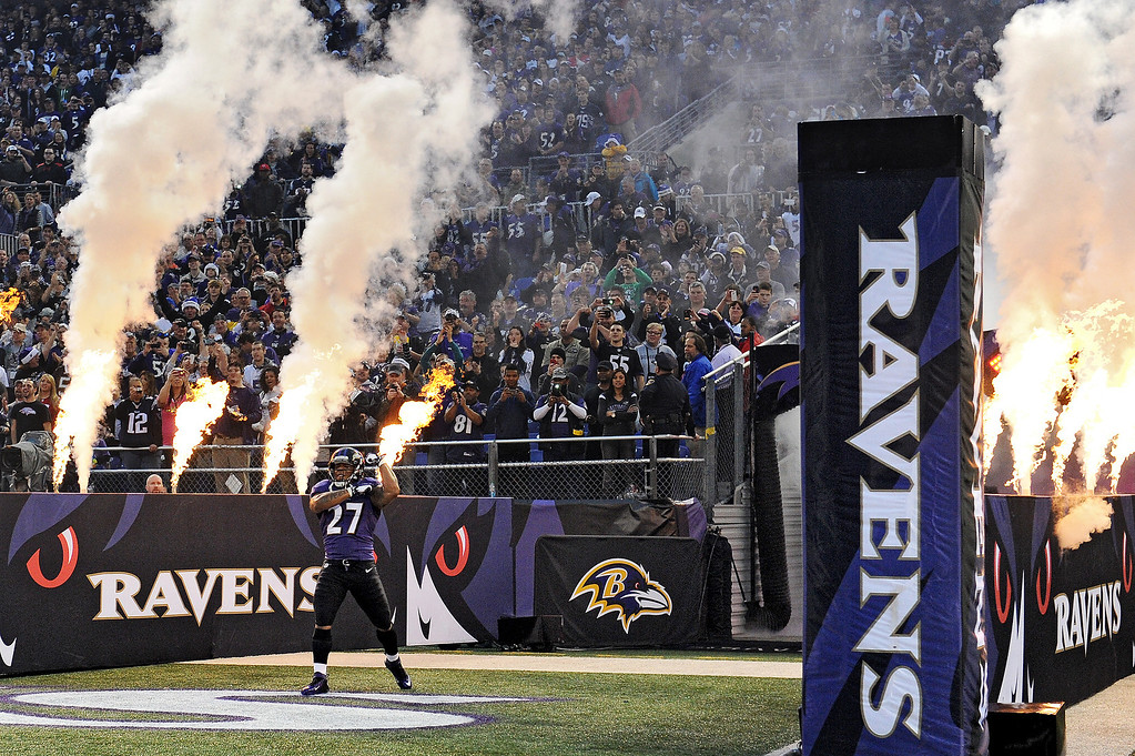 . Running back Ray Rice #27 of the Baltimore Ravens is introduced before playing the New England Patriots at M&T Bank Stadium on December 22, 2013 in Baltimore, Maryland. The New England Patriots won, 41-7. (Photo by Patrick Smith/Getty Images)