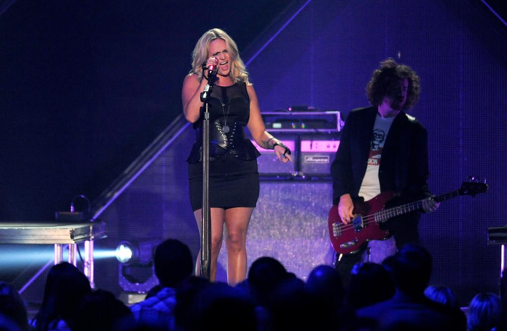 . Miranda Lambert performs at the 2013 CMT Music Awards at Bridgestone Arena on Wednesday, June 5, 2013, in Nashville, Tenn. (Photo by Donn Jones/Invision/AP)