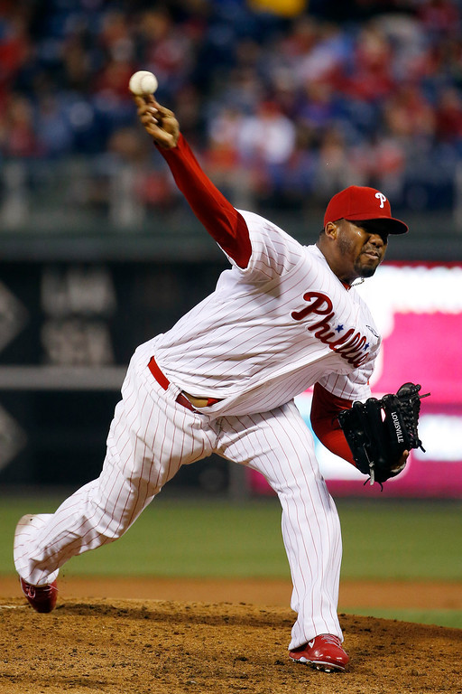 . Philadelphia Phillies\' Roberto Hernandez pitches during the first inning of a baseball game against the Colorado Rockies, Wednesday, May 28, 2014, in Philadelphia. (AP Photo/Matt Slocum)