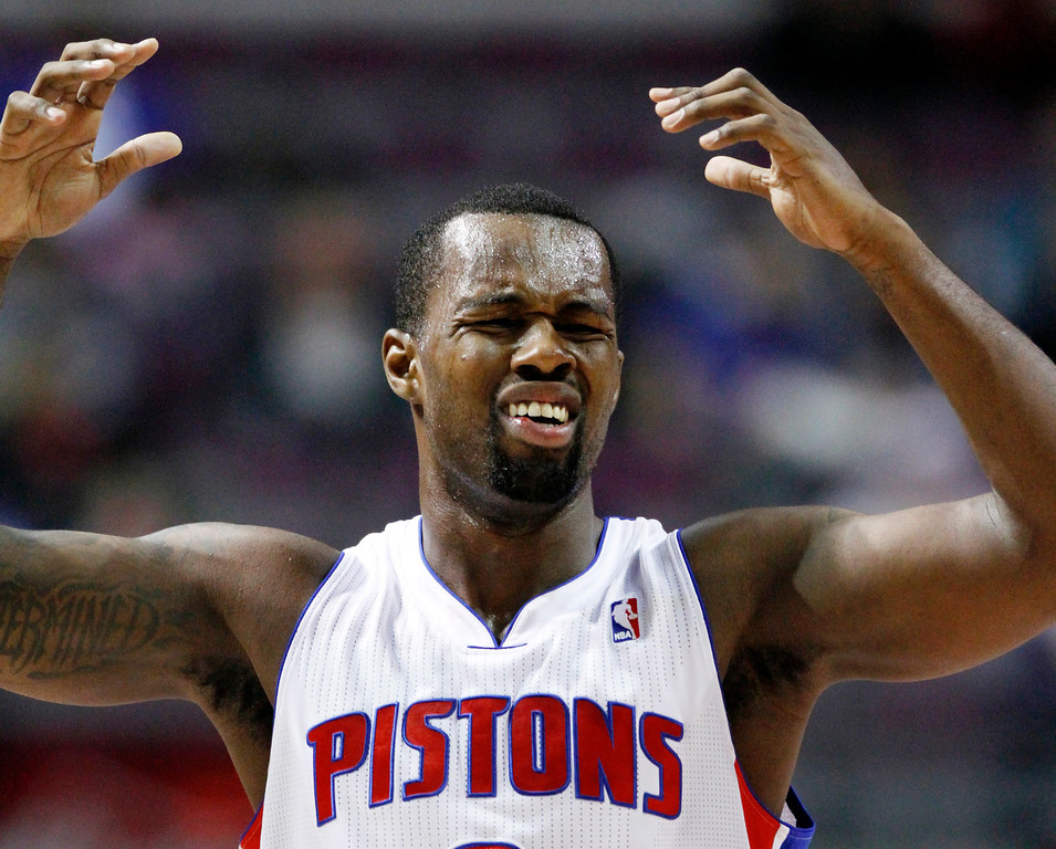 . Detroit Pistons guard Rodney Stuckey (3) reacts after Corey Maggette was whistled for a foul in the fourth quarter of an NBA basketball game against the Denver Nuggets, Tuesday, Dec. 11, 2012, in Auburn Hills, Mich. The Nuggets won 101-94. (AP Photo/Duane Burleson)