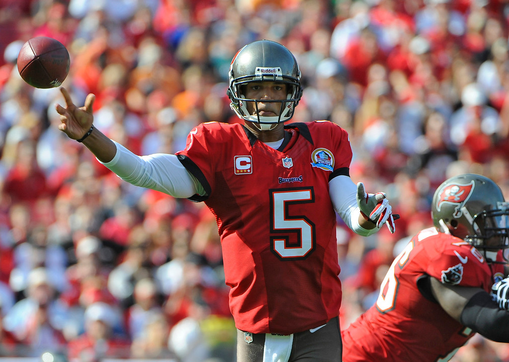 . Tampa Bay Buccaneers quarterback Josh Freeman (5) throws a pass against the Philadelphia Eagles during the first quarter of an NFL football game Sunday, Dec. 9, 2012, in Tampa, Fla. (AP Photo/Brian Blanco)