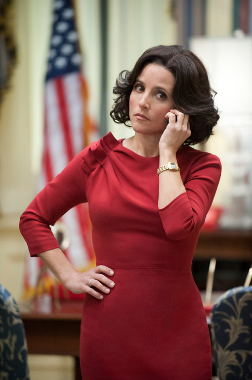 """. This publicity image released by HBO shows Julia Louis-Dreyfus in the comedy series \""""Veep.\"""" Louis-Dreyfus was nominated for an Emmy Award for best actress in a comedy series on, Thursday July 18, 2013. The Academy of Television Arts & Sciences\' Emmy ceremony will be hosted by Neil Patrick Harris. It will air Sept. 22 on CBS. (AP Photo/HBO, Lacey Terrell)"""