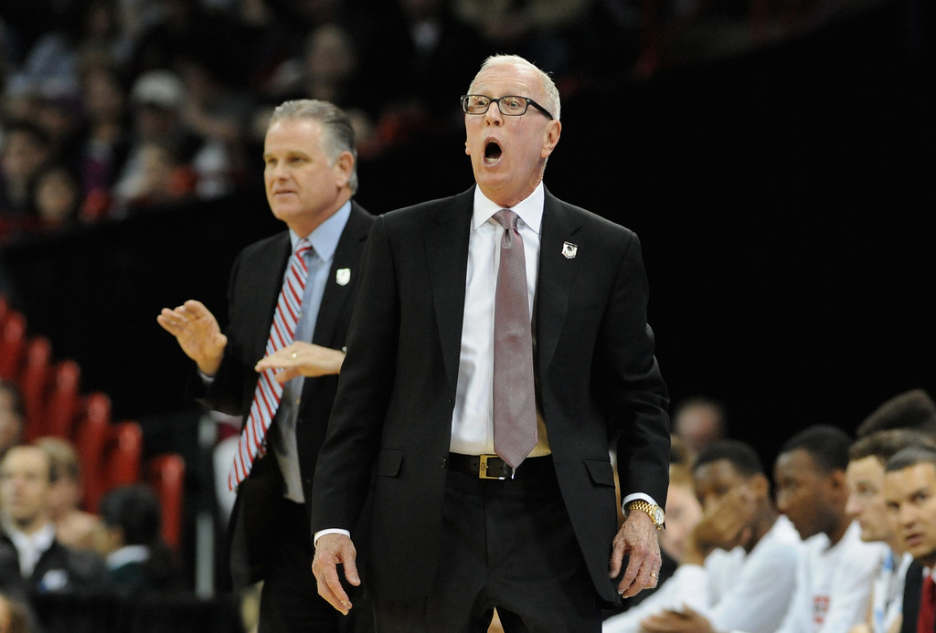 . SPOKANE, WA - MARCH 20:  Head coach Steve Fisher of the San Diego State Aztecs yells at his team during the game against the New Mexico State Aggies in the second round of the 2014 NCAA Men\'s Basketball Tournament at Spokane Veterans Memorial Arena on March 20, 2014 in Spokane, Washington.  (Photo by Steve Dykes/Getty Images)