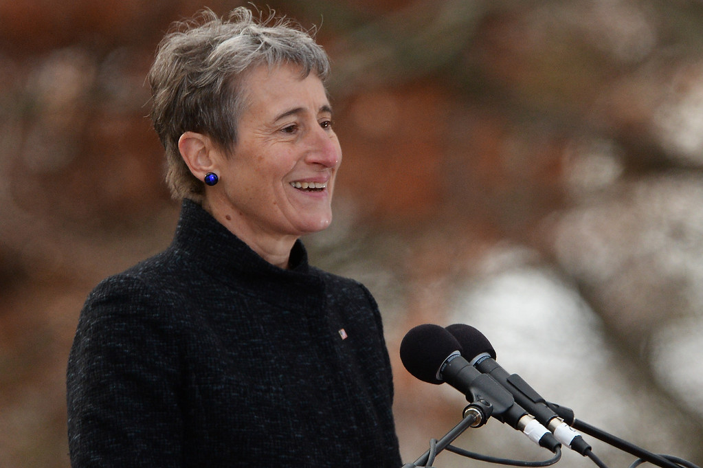 . Keynote speaker and Secretary of the Interior, Sally Jewell, speaks during a commemoration of the 150th Anniversary of the Gettysburg Address at the Soldiers\' National Cemetery at Gettysburg National Military Park on November 19, 2013 in Gettysburg, Pennsylvania. (Photo by Patrick Smith/Getty Images)