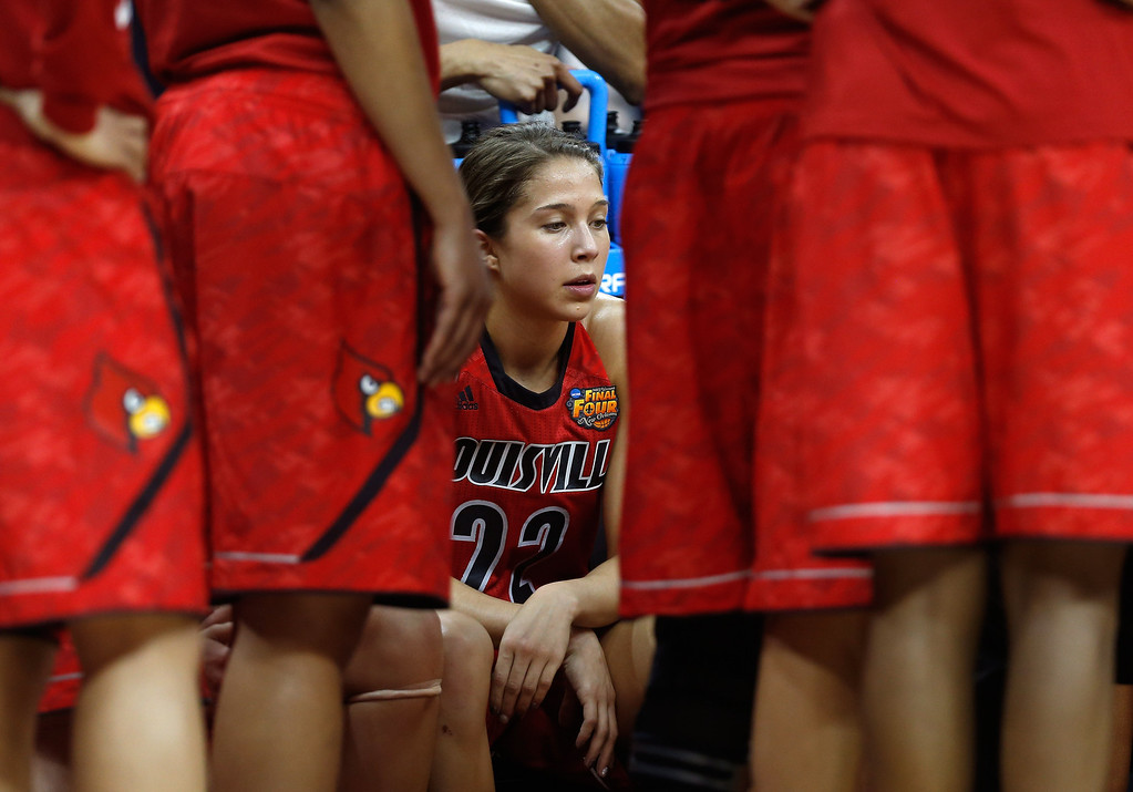 . Jude Schimmel #22 of the Louisville Cardinals sits on the bench late in the second half against the Connecticut Huskies during the 2013 NCAA Women\'s Final Four Championship at New Orleans Arena on April 9, 2013 in New Orleans, Louisiana.  (Photo by Chris Graythen/Getty Images)