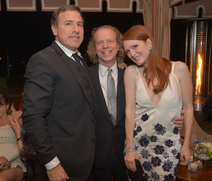 . Director David O. Russell, producer Bruce Cohen and actress Julianne Moore attend The Weinstein Company\'s SAG Awards After Party Presented By FIJI Water at Sunset Tower on January 27, 2013 in West Hollywood, California.  (Photo by Charley Gallay/Getty Images for TWC)