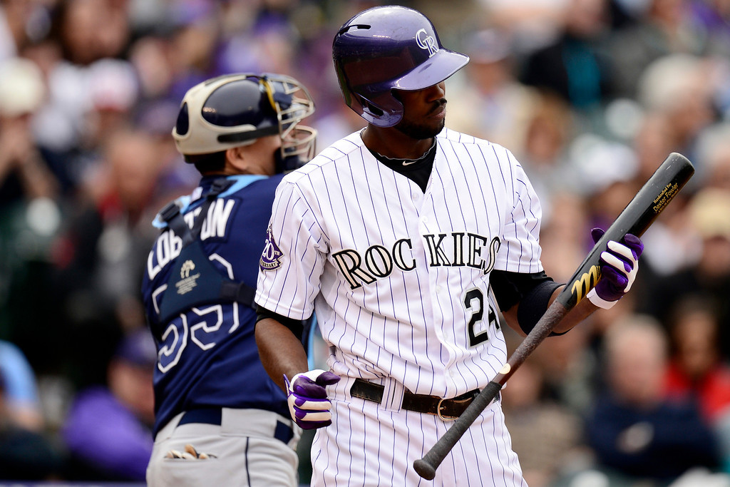 . DENVER, CO - MAY 5: Dexter Fowler (24) of the Colorado Rockies reacts to striking out against the Tampa Bay Rays during the Rockies\' 8-3 loss.   (Photo by AAron Ontiveroz/The Denver Post)