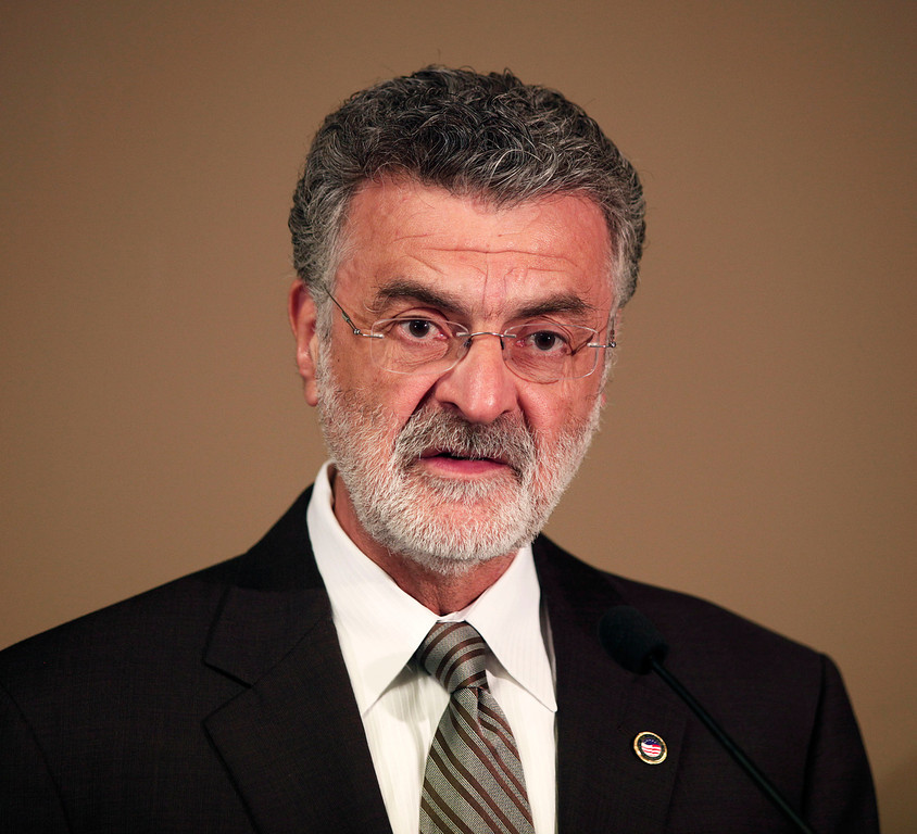 . Cleveland Mayor Frank Jackson speaks at a press conference to discuss the three women who were found alive in the same home in Cleveland yesterday after having been missing for almost a decade May 7, 2013 in Cleveland, Ohio. Amanda Berry, who went missing in 2003, Gina DeJesus, who went missing in 2004, and Michelle Knight, who went missing in 2002, were all found alive in the same house in Cleveland on Monday. Three suspects, all brothers, were taken into custody.  (Photo by Bill Pugliano/Getty Images)