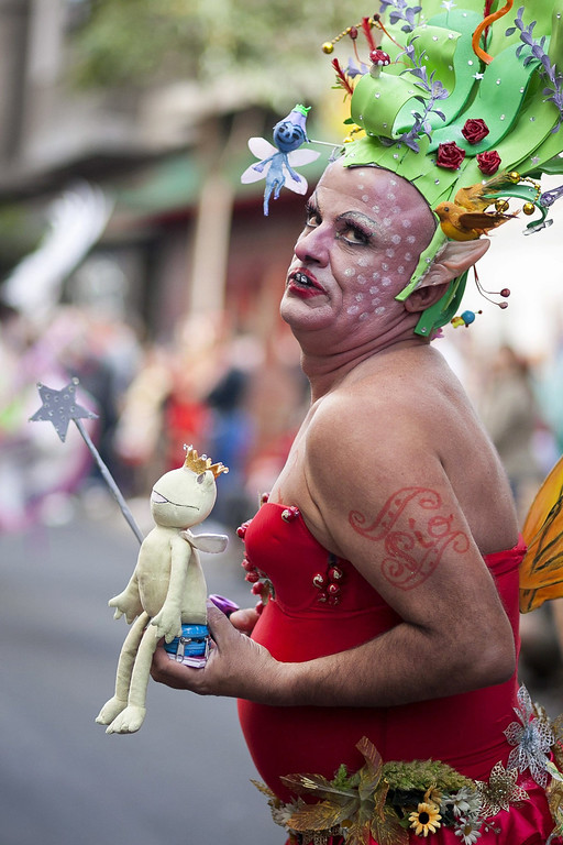 . A man takes part in the Las Palmas\' Carnival Parade held in the main streets of Las Palmas de Gran Canaria, Canary Islands, Spain, 01 March 2014.  EPA/ANGEL MEDINA G