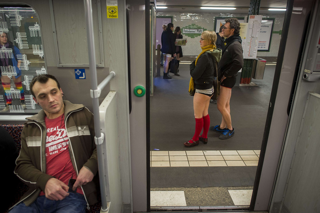 ". The doors close as people taking part in the ""No Pants Subway Ride\"" are seen on the platform at the Potsdamer Platz station on the U2 Subway line in Berlin on January 12, 2014. \""No Pants Subway Ride\"",  is an annual event in which transit passengers ride trains without wearing pants in January. The event is observed in dozens of cities worldwide. In the UK, where the word pants refers to underwear, the event has been translated as \""No Trousers\"".   ODD ANDERSEN/AFP/Getty Images"