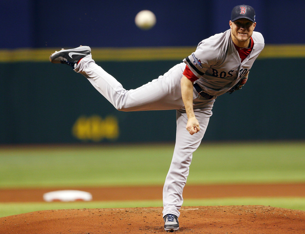 . Jake Peavy #44 of the Boston Red Sox pitches during the first inning against the Tampa Bay Rays during Game Four of the American League Division Series at Tropicana Field on October 8, 2013 in St Petersburg, Florida.  (Photo by Mike Ehrmann/Getty Images)