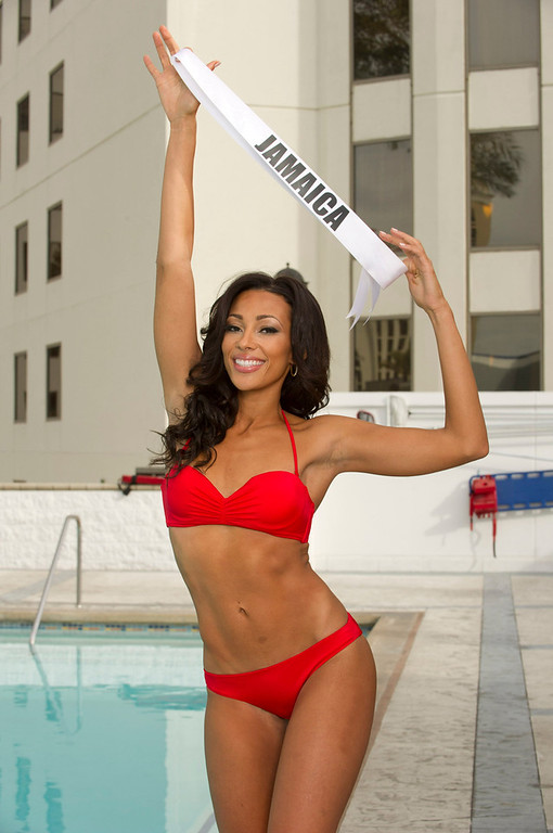 . Miss Jamaica 2012 Chantal Zaky poses in her swimsuit during a photoshoot by the pool at the Planet Hollywood Resort and Casino in Las Vegas, Nevada December 5, 2012. The Miss Universe 2012 competition will be held on December 19. REUTERS/Valerie Macon/Miss Universe Organization L.P/Handout