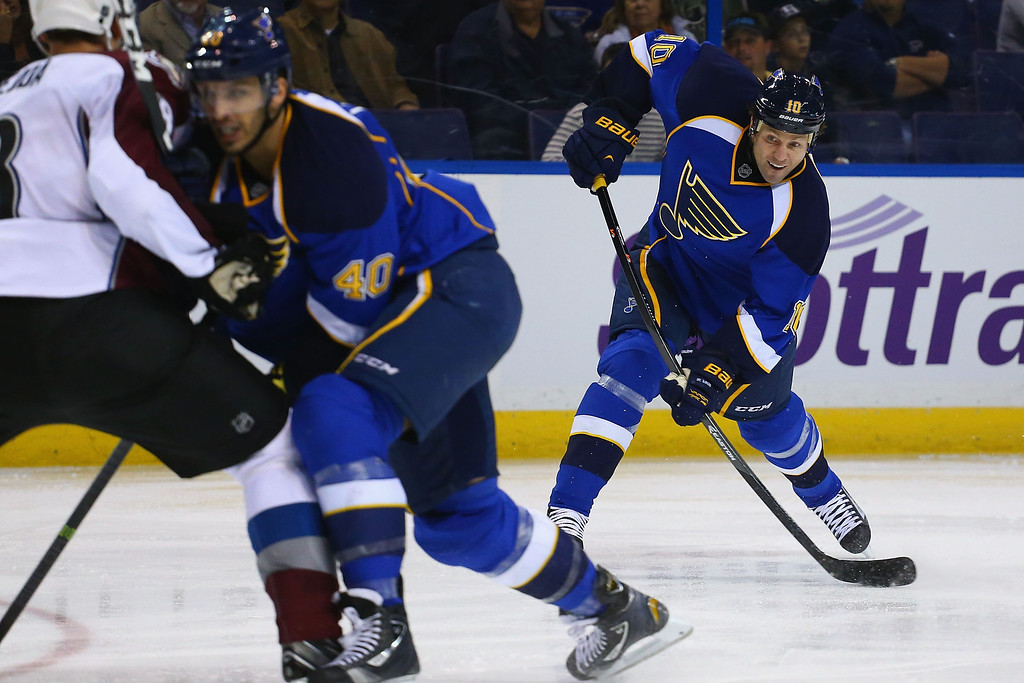. ST. LOUIS, MO - NOVEMBER 14:  Brenden Morrow #10 of the St. Louis Blues takes a shot on goal against the Colorado Avalanche at the Scottrade Center on November 14, 2013 in St. Louis, Missouri.  The Blues beat the Avalanche 7-3.  (Photo by Dilip Vishwanat/Getty Images)