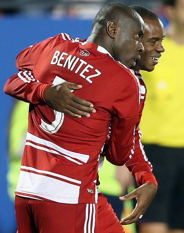 . FRISCO, TX - MARCH 02:  Jackson #6 and Jair Benitez #5 of FC Dallas celebrate a goal against the Colorado Rapids at FC Dallas Stadium on March 2, 2013 in Frisco, Texas.  (Photo by Ronald Martinez/Getty Images)