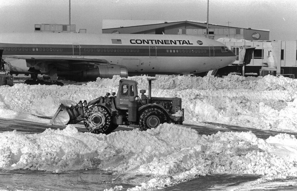 . Clearing out the snow at Stapleton International Airport after the Blizzard of \'82. Denver Post Library Archive