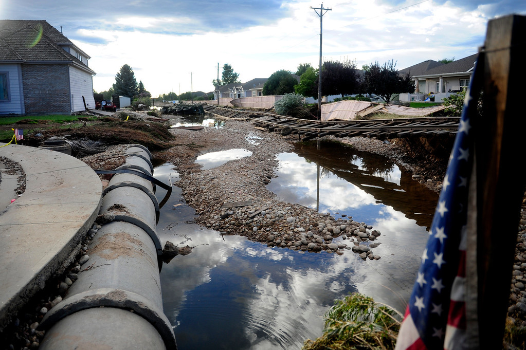 . LONGMONT, CO. - SEPT 18, 2013:   The Greens, a neighborhood in Longmont was damaged by the floods last week.   (Photo By Erin Hull/The Denver Post)