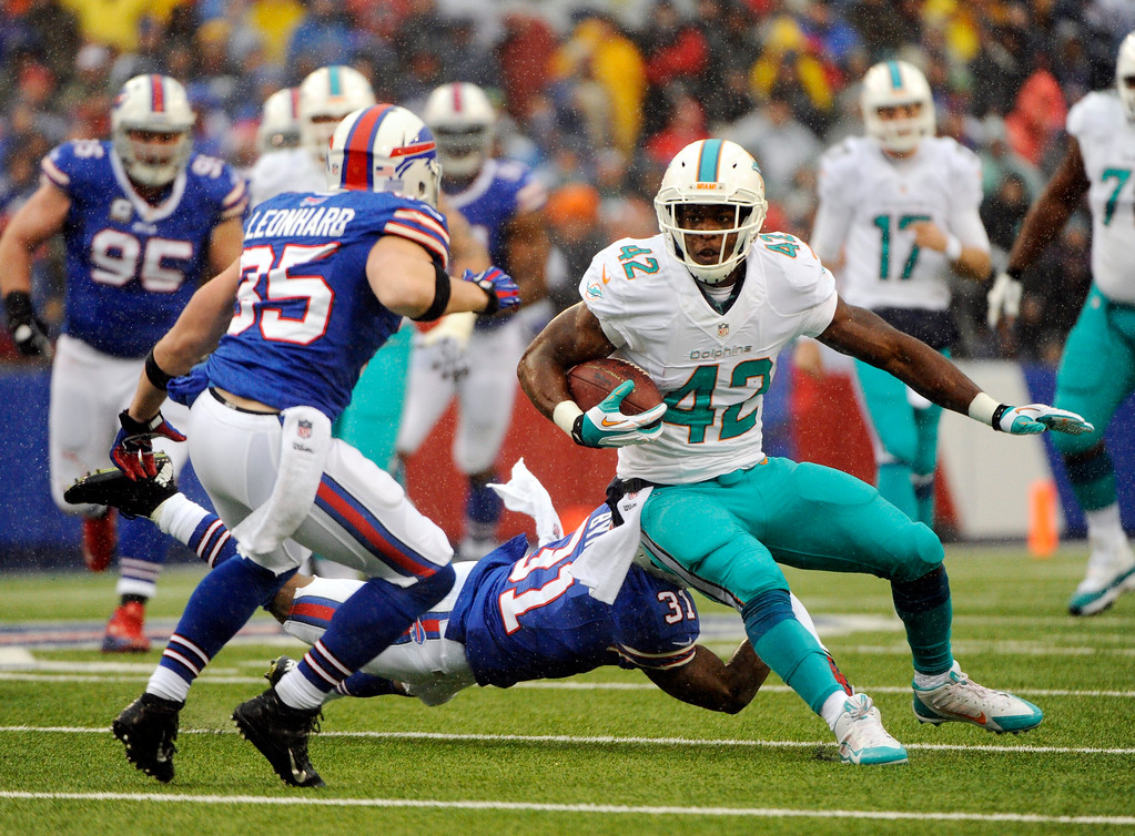 . Miami Dolphins tight end Charles Clay (42) runs against Buffalo Bills free safety Jim Leonhard (35) during the first half of an NFL football game on Sunday, Dec. 22, 2013, in Orchard Park, N.Y. (AP Photo/Gary Wiepert)