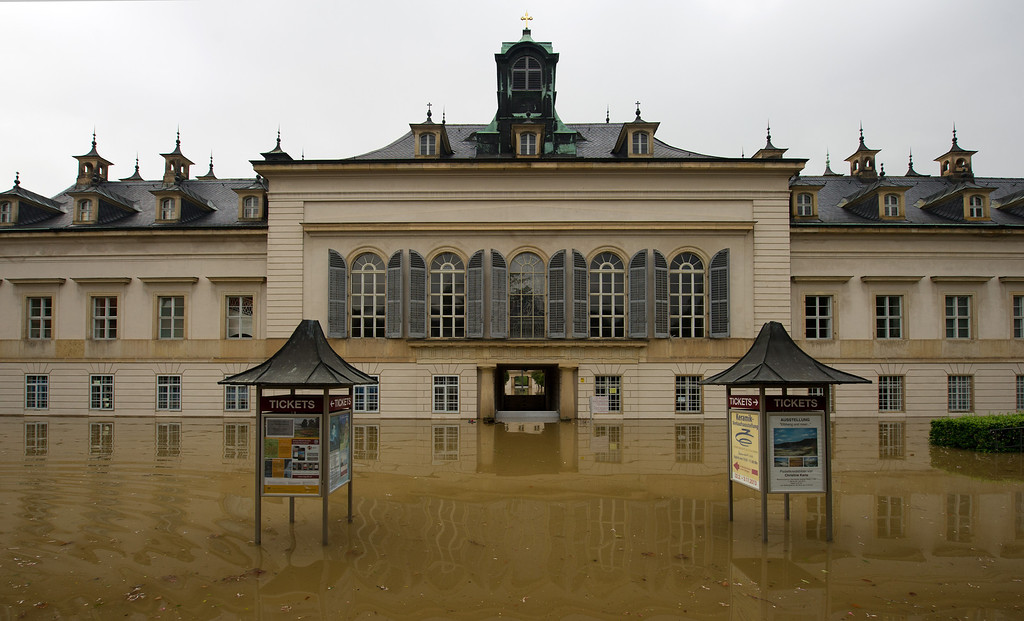 . The flood waters along the Elbe River have reached Pillnitz Castle in Dresden, Germany, on June 4, 2013. Heavy rains over the past days are causing serious flooding in Saxony and other areas in Germany. ARNO BURGI/AFP/Getty Images
