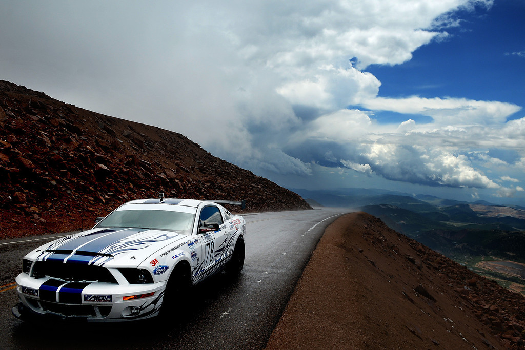 . Time Attack racer Kash Singh powers up the peak in his Ford Shelby GT 500 during the 91st running of the Pikes Peak International Hill Climb Sunday, June 30, 2013. (Michael Ciaglo, The Gazette)