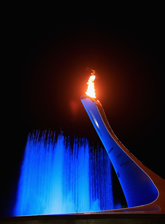 . The Olympic Flame burns in the cauldron after the Opening Ceremony of the Sochi 2014 Winter Olympics at Fisht Olympic Stadium on February 7, 2014 in Sochi, Russia.  (Photo by Richard Heathcote/Getty Images)
