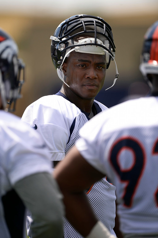 . Denver Broncos defensive end DeMarcus Ware (94) watches drills during day two of the Denver Broncos 2014 training camp July 25, 2014 at Dove Valley. (Photo by John Leyba/The Denver Post)