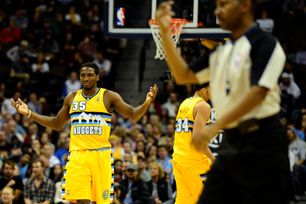 . Denver Nuggets small forward Kenneth Faried (35) questions a call during the first half at the Pepsi Center on Monday, December 3, 2012. AAron Ontiveroz, The Denver Post