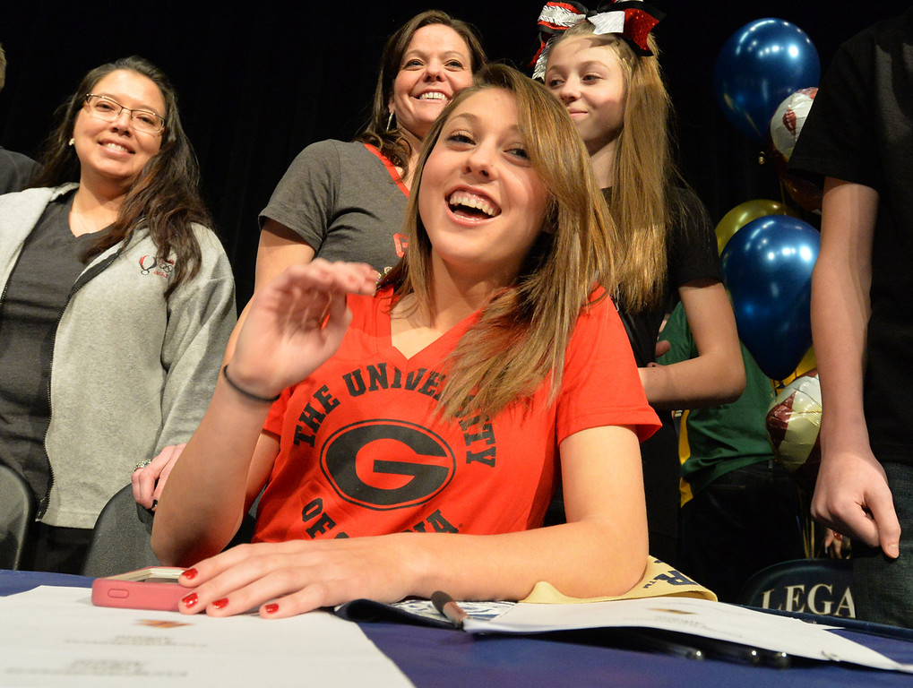 . Legacy\'s Kelsey Killean poses for pictures after signing to the University of Georgia for soccer during National Signing Day at Legacy High.  For more photos and video please go to broomfieldenterprise.com. February 5, 2014 staff photo/ David R. Jennings