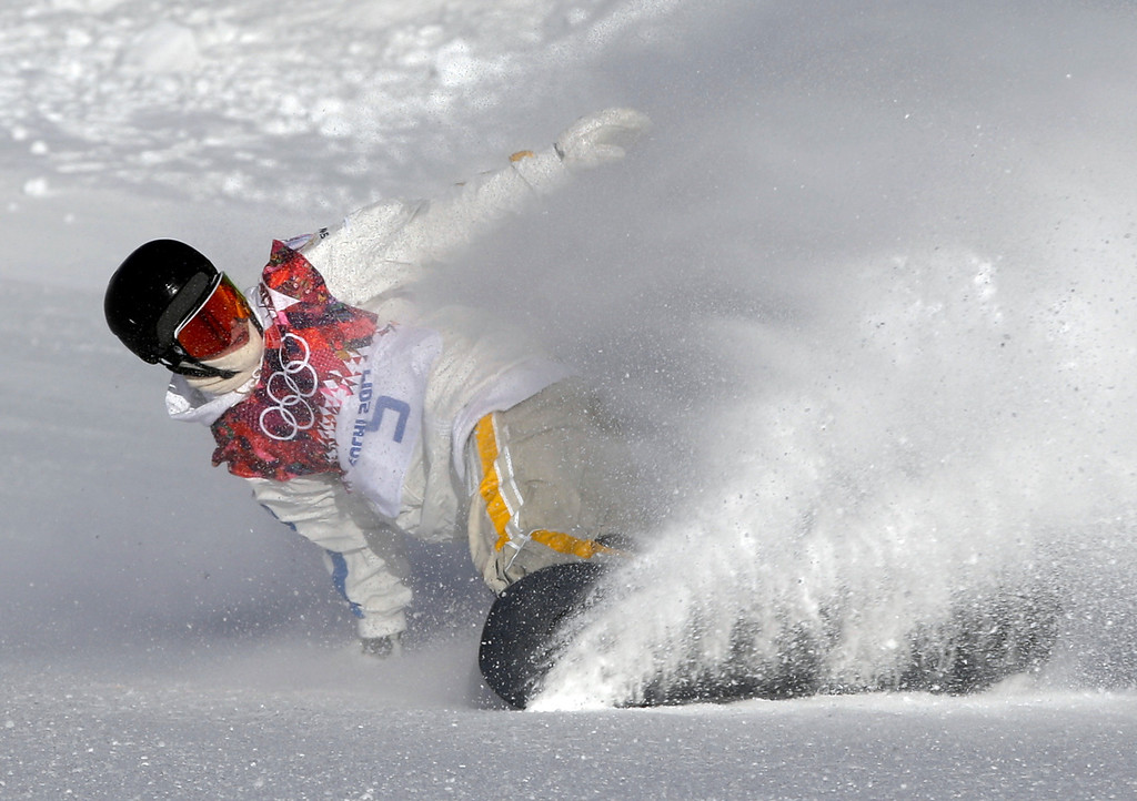 . Sweden\'s Niklas Mattsson finishes his first run during men\'s snowboard slopestyle qualifying at the Rosa Khutor Extreme Park ahead of the 2014 Winter Olympics, Thursday, Feb. 6, 2014, in Krasnaya Polyana, Russia. (AP Photo/Andy Wong)