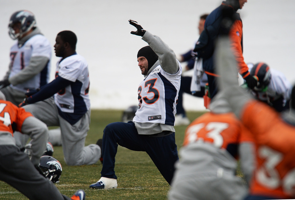 . CENTENNIAL, CO. NOVEMBER 22 : Wes Welker of Denver Broncos (83) is warming up for the team practice at the field in Denver Broncos Headquarters at Dove Valley. Centennial, Colorado. November 22, 2013. (Photo by Hyoung Chang/The Denver Post)