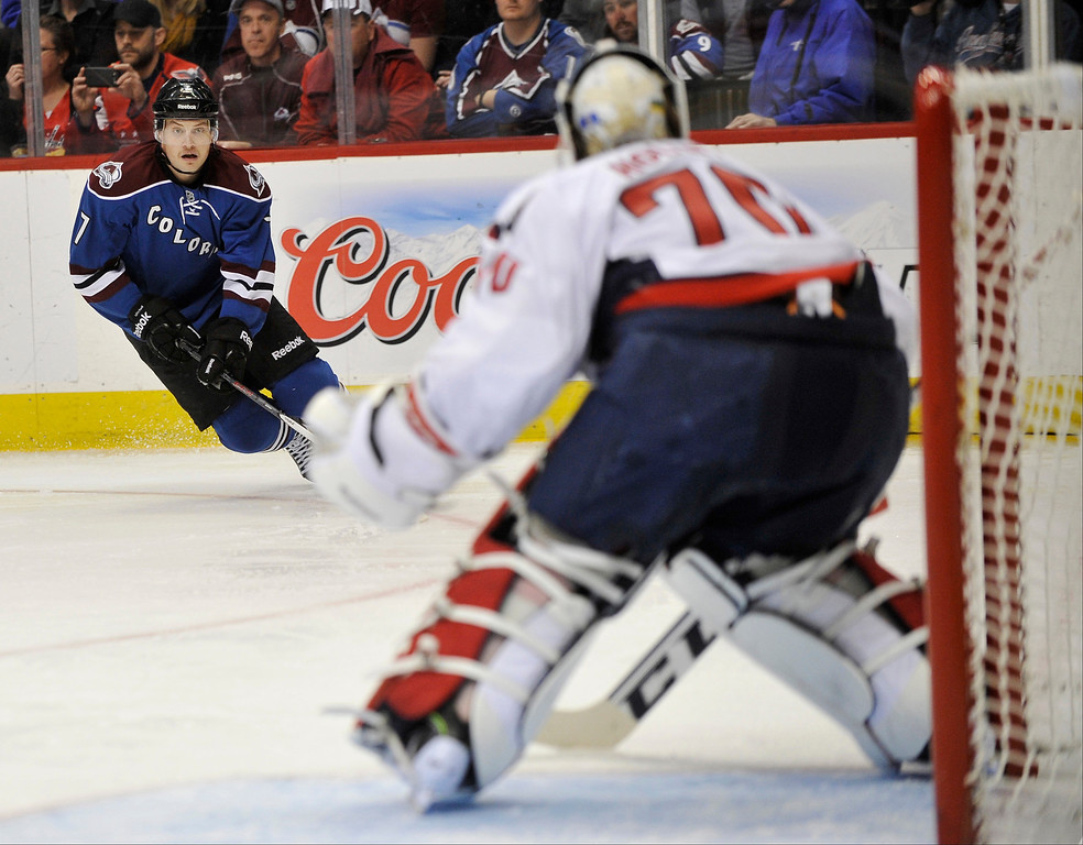 . Colorado Avalanche forward John Mitchell (7) drives towards the net defended by Washington Capitals goalie Braden Holtby during the third period.   (Photo By Patrick Traylor/The Denver Post)