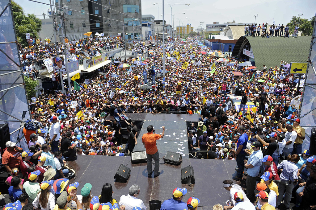 . Venezuelan opposition candidate, Henrique Capriles Radonski, speaks during a campaign rally in San Fernando de Apure, Apure state, Venezuela on April 11, 2013. LEO RAMIREZ/AFP/Getty Images