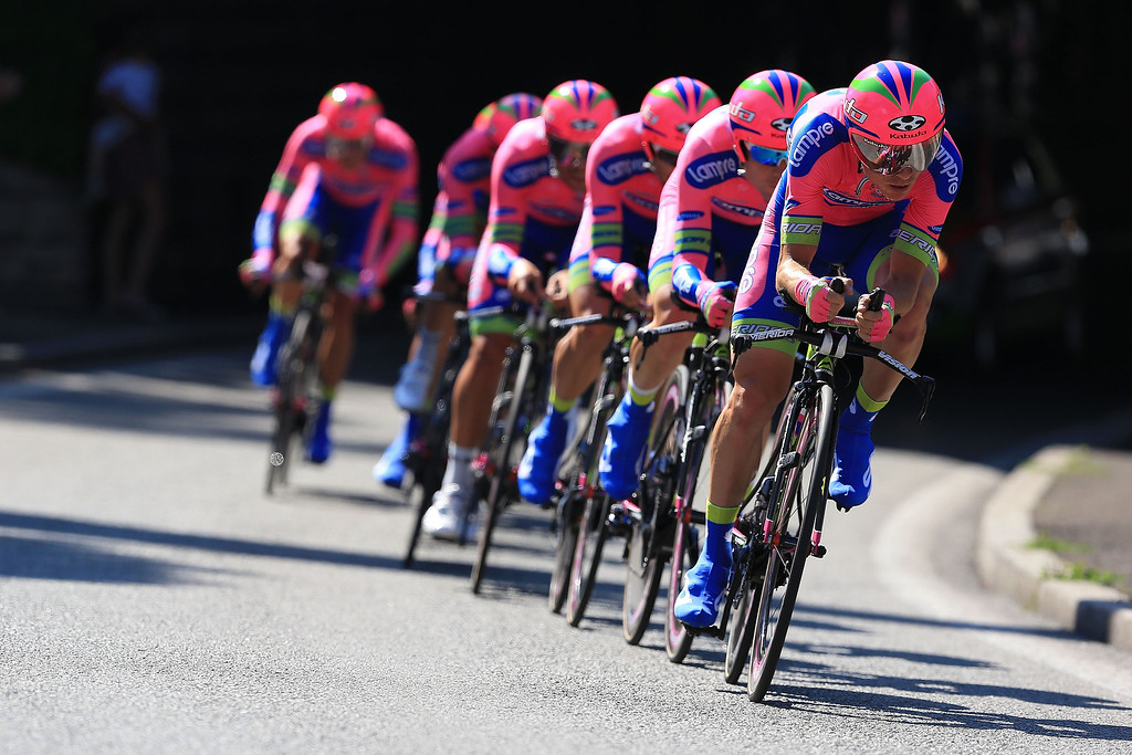 . Team Lampre-Merida in action during stage four of the 2013 Tour de France, a 25KM Team Time Trial on July 2, 2013 in Nice, France.  (Photo by Doug Pensinger/Getty Images)