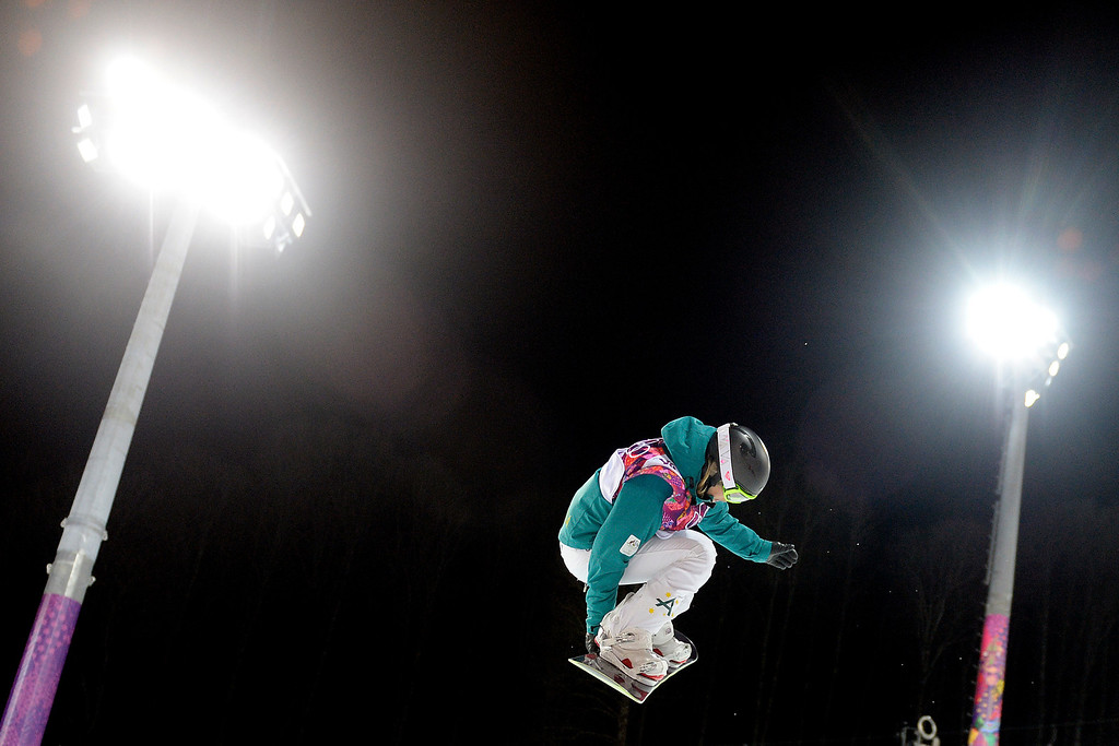 . Silver medalist Australian Torah Bright rides under the lights during a women\'s snowboard halfpipe final at the Rosa Khutor Extreme Park. Sochi 2014 Winter Olympics on Wednesday, February 12, 2014. (Photo by AAron Ontiveroz/The Denver Post)