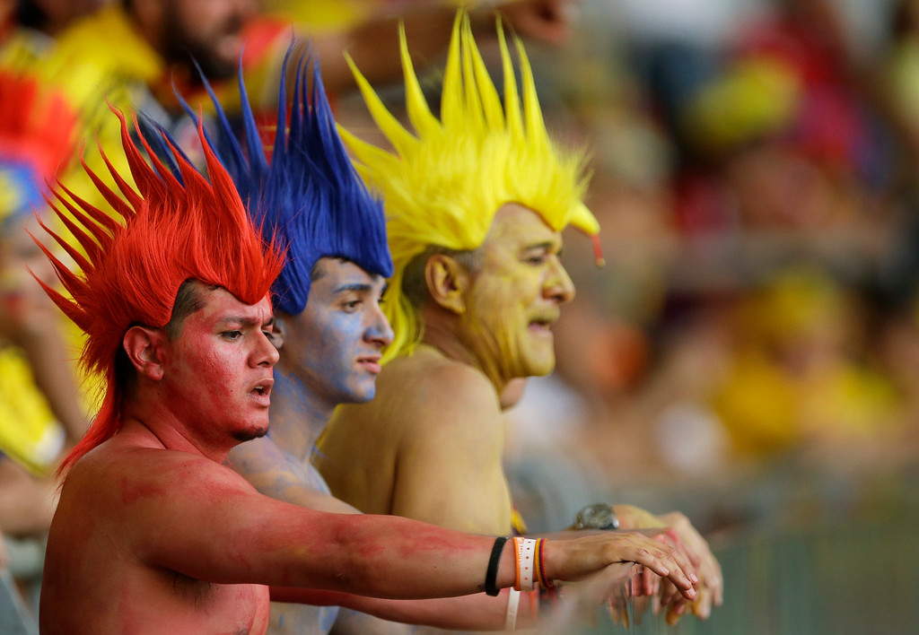 . Colombia\'s fans watch the group C World Cup soccer match between Colombia and Ivory Coast at the Estadio Nacional in Brasilia, Brazil, Thursday, June 19, 2014. Colombia won 2-1. (AP Photo/Themba Hadebe)