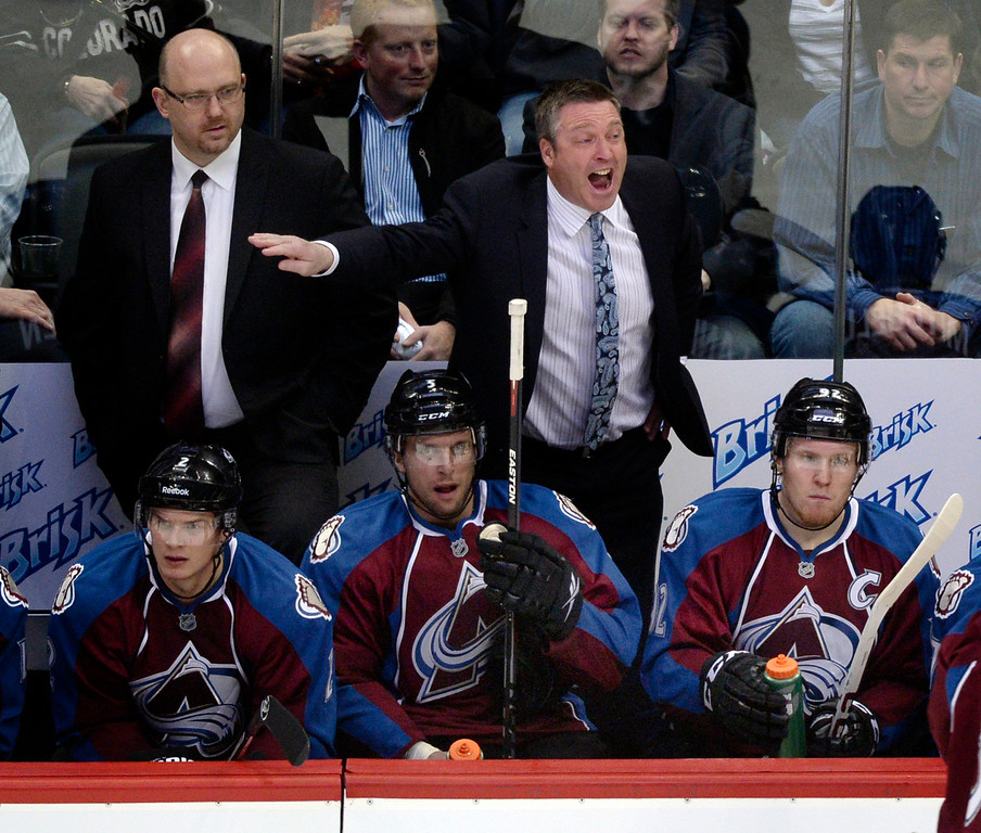 . DENVER, CO - MARCH 12: Colorado coach Patrick Roy yelled from the bench to Matt Duchene and his line mates in the second period. The Colorado Avalanche hosted the Chicago Blackhawks at the Pepsi Center Wednesday night, March 12, 2014 in Denver, Colorado. (Photo by Karl Gehring/The Denver Post)