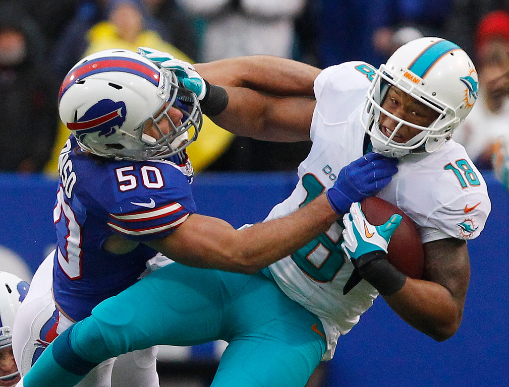 . Buffalo Bills middle linebacker Kiko Alonso (50) tackles Miami Dolphins wide receiver Rishard Matthews (18) during the second half of an NFL football game Sunday, Dec. 22, 2013, in Orchard Park, N.Y. (AP Photo/Bill Wippert)