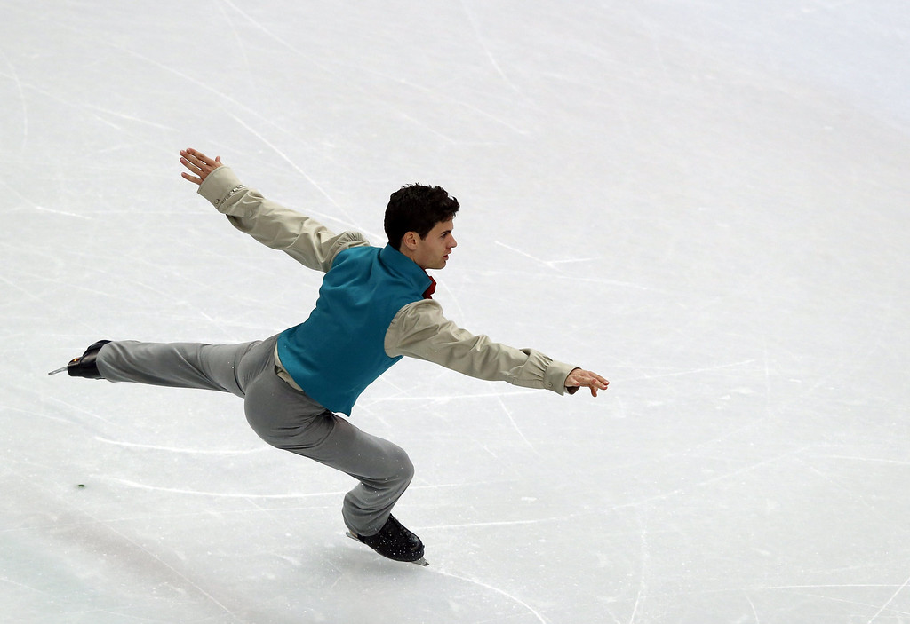 . Spain\'s Javier Raya performs during the Men\'s Figure Skating Short Program at the Iceberg Skating Palace during the Sochi Winter Olympics on February 13, 2014.  ADRIAN DENNIS/AFP/Getty Images