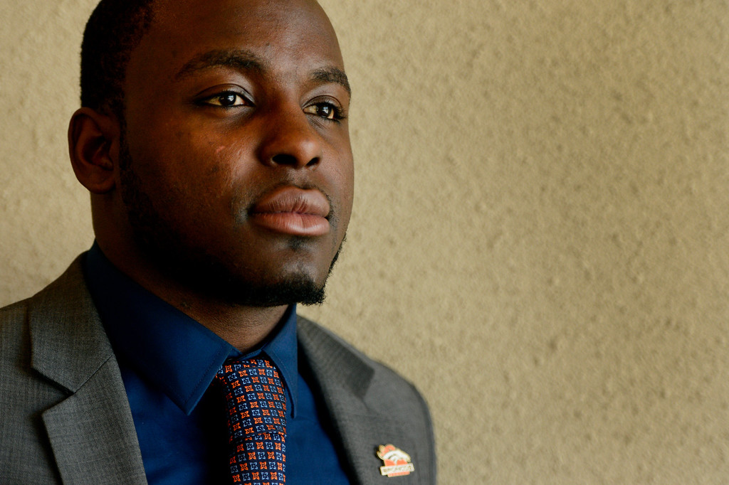 . ENGLEWOOD, CO. - APRIL 27: Montee Ball poses for a portrait at the Denver Broncos\' training facility in Englewood, CO April 27, 2013. The Broncos selected the Wisconsin running back in the 2013 NFL Draft.  (Photo By Craig F. Walker/The Denver Post)
