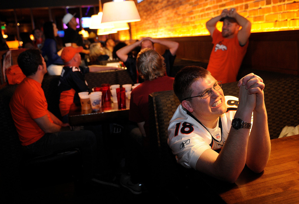 . John Mackey reacted as the pick was revealed on television.  With the 28th pick Denver picked Sylvester Williams from North Carolina. Broncos fans gathered for a NFL draft party at the Tavern Downtown, 1949 Market Street, Thursday night, April 25, 2013. Mackey was hoping Denver would choose Manti Te\'o from Notre Dame. Photo By Karl Gehring/The Denver Post